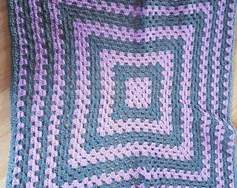 Purple and grey baby blanket
