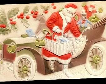 Santa Claus in Automobile Embossed 1907 Postcard