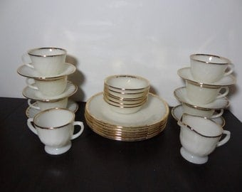 Vintage Rare Anchor Hocking Fire King Golden Anniversary Swirl Ivory/Cream Milk Glass Dinnerware with 22k Gold Trim  - Set of 26