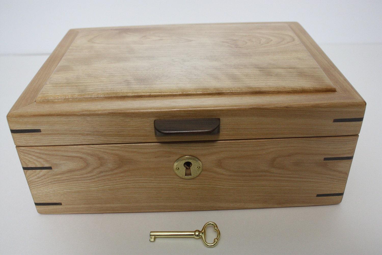 Handmade Locking Red Birch Box For Sale
