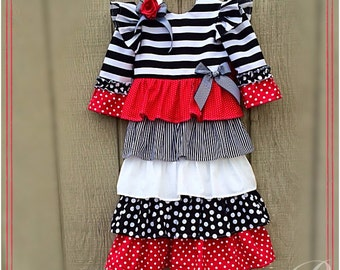 RED GIRLS DRESS ruffled modest girls dress