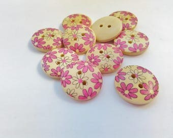 """10 Pink Flowers Buttons Wooden Round 18mm (3/4"""") Pink Floral Buttons, Spring Flowers Sewing Knitting Buttons Accessories"""