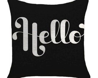 Hello on Black - Pillow Cover