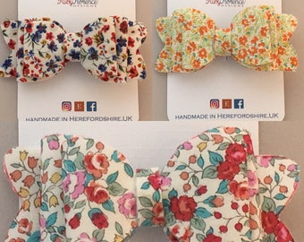 Fabric hair bows with clip red,orange or pink