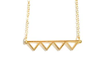 Geometric Triangles Necklace Gold