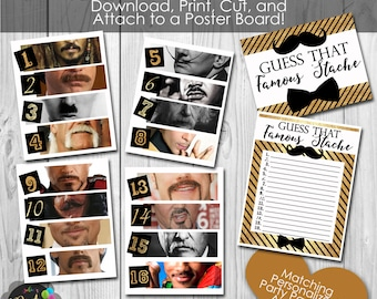 Instant Download DIY Guess That Famous Mustache Party Game