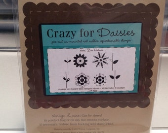 Unity Stamp Crazy for Daisies red rubber stamp set Unused