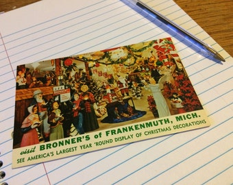 Vintage Post Card Bronner's of Frankenmuth Michigan Christmas Decorations