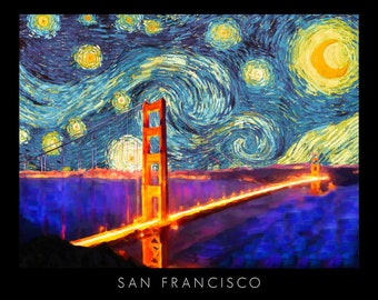 San Francisco Poster - Golden Gate Bridge Poster - Van Gogh - California Poster - Architecture Wall Art #vi699