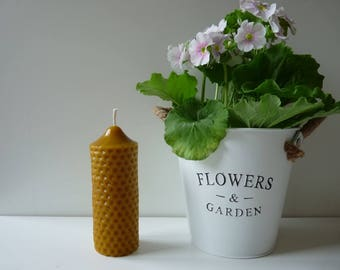 Honeycomb Solid Beeswax Pillar Candle 5.3 x 2.2 (13.5x 6 cm), Beeswax Candles, Hand made Cylinder pillar candle, 100% Pure Natural Beeswax,