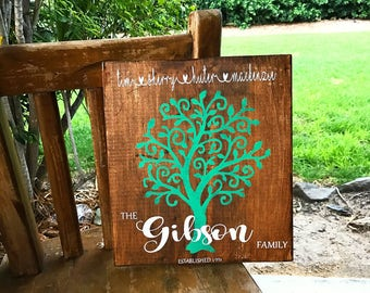 Family tree Wood Sign personalised, Custom made with family, names & date, great for Mum, housewarming or a gift for anybody