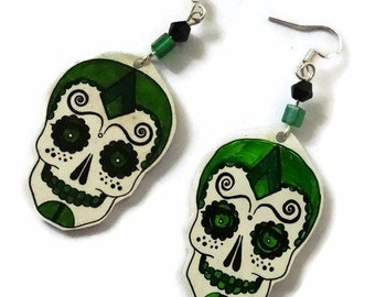 Sugar Skull Drop Earrings,Sterling Silver Fish Hooks,Sterling Silver Earwire,Hand Crafted,Day Of The Dead Earrings, Good For A Gift Or You!9