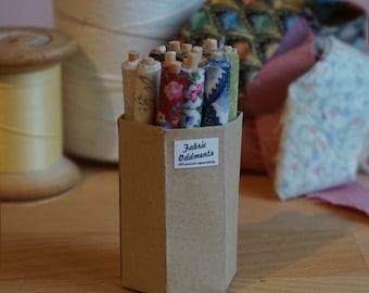 Dolls House Miniature Tub of Fabric Rolls