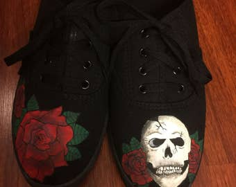 Skull and roses hand painted shoes!