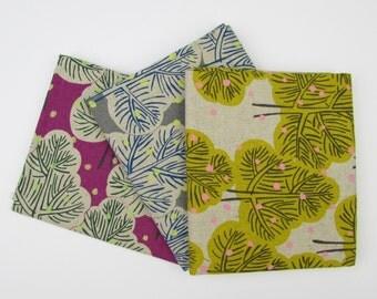 10% OFF - Neon Trees by Hokkoh Japanese Cotton Canvas Fabric Fat Quarter Bundle - 3 Fabrics