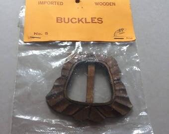 Wooden BELT BUCKLE Hand Carved Made in Korea Vintage Craft Supply Vintage 1980s