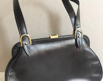 BLACK Leather Handbag Vintage 1960s Purse One Compartment Metal Accents Elegant