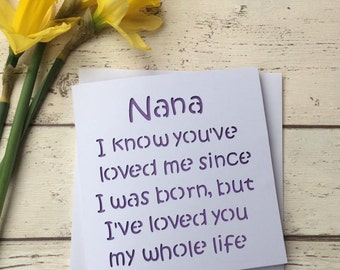 card for nana, mothers day card, mothers day nana, nana birthday, nana card, grandma card, nanna card, card for mom, nana gift, mothers day