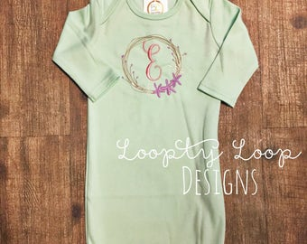 Monogrammed Personalized Baby Gown