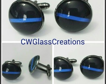 Thin blue line cufflinks accessories for men