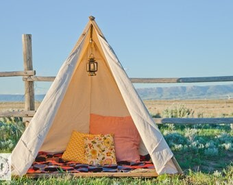Play Tent - Six-Foot-Tall Canvas A Frame Tent | Teepee | Birthday Party, Playroom, Photo Shoot | Rustic Camp Theme