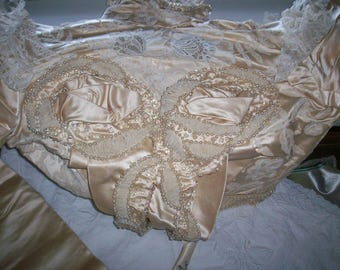 Breathtaking antique bodice cream pearls hand done lace