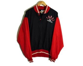 Vintage 90s Nike Force Windbreaker - Large - Pullover - Red and Black - Hiphop Clothing - Basketball - Old School - Wind Breaker -