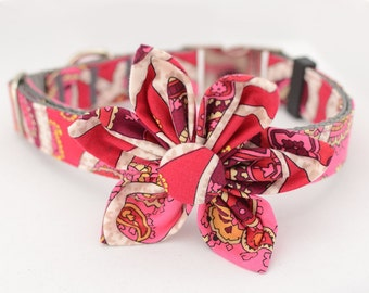 Personalized  Dog Collar and Flower Set,Rosy Posies Flower,Fabric 63