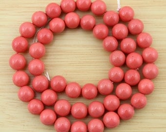 8mm High Luster Round Shell Pearl Beads, coral colour  shell PeBeads,Shell Pearl Beads,One Full Strand,-48pcs-15.5 inches-SH38