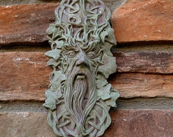 "Nature Greenman Celtic Green man wall relief www.Neo-Mfg.com 10"""