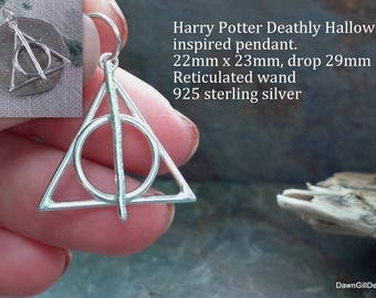 Harry Potter Deathly Hallows inspired 925 sterling silver pendant