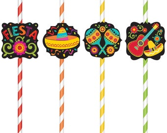 Fun Color Stripe Assortment Vibrant Fiesta Paper Drinking Straws - Celebration & Party Straws - Paper Straws - Fiesta - Cinco De Mayo!