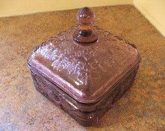Vintage 1970s Indiana Glass / Tiara Exclusives Amethyst / Purple Sandwich Glass Honeycomb Covered Candy Dish