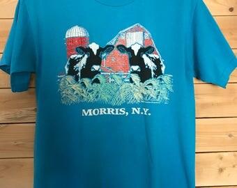 Morris New York Shirt // Vintage Morris NY Shirt // Vintage Cow Shirt