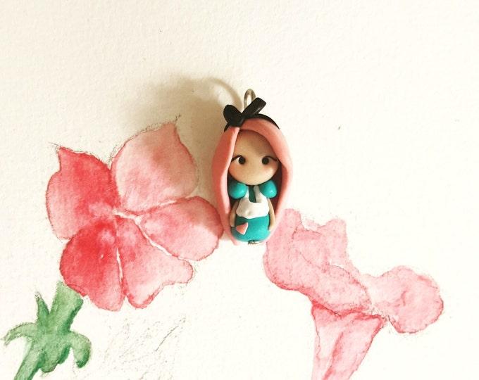 Pink Alice  in wonderland charm. Clay charm. Disney jewelry.