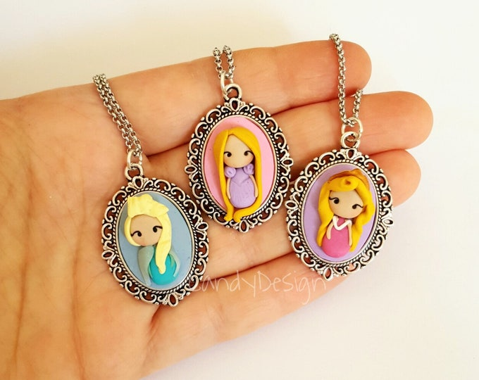 Princesses cameo necklace .Choose your princesses. Disney jewelry. Clay charm. The BeaSt And The Beauty insite. Kawaii clay. Ariel,Aurora...