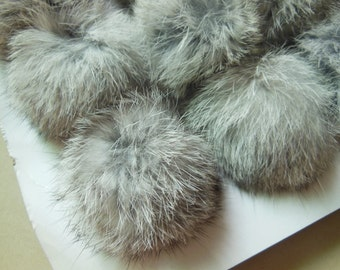3pcs 6cm Natural Gray Real Rabbit Fur Ball Rabbit Fur Pom Poms