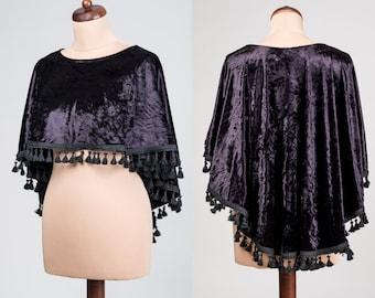 Elegant romantic, Lolita black lace CAPE Gothic Victorian, Burlesque, cobalt, red, green, tassels, bolero,  prom, Halloween Christmas