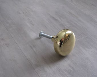 Vintage Round Brass Knobs Pulls - Cabinet Hardware - 35 available