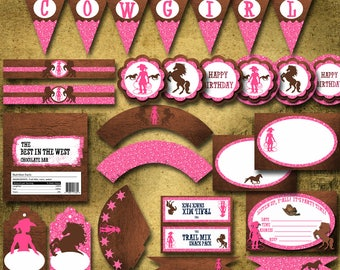 Cowgirl Party Set Instant Download Printable Party Set