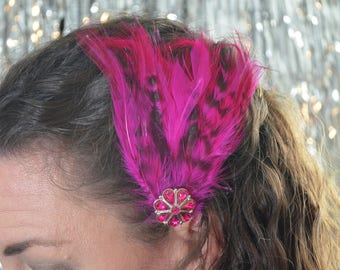 Pink Feather Burlesque Flapper Hair Fascinator