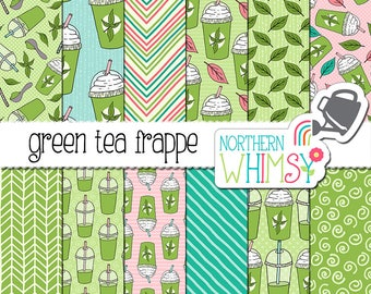 "Summer Digital Paper - ""Green Tea Frappe"" - hand drawn iced drink seamless patterns in green, pink & aqua - scrapbook paper -commercial use"