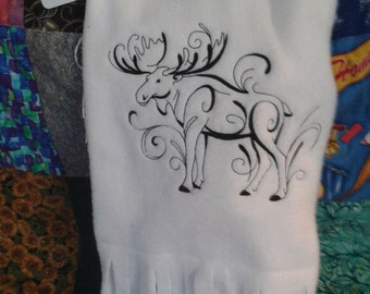 Moose Scarf, Embroidered Fleece Scarf, White Fleece Scarf