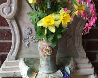 Vase - Antiqued copper Glaze - Hand Stamped - Wheel Thrown