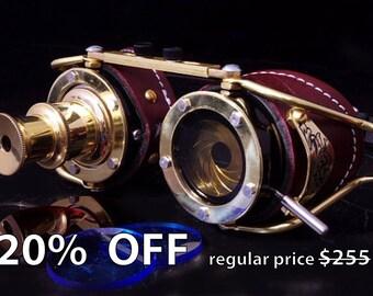 Steampunk Telescope Iris Aperture Engrave Goggles Goth Theatrical Brass LARP Brown