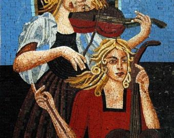 Two Female Musicians Handmade Mosaic Art