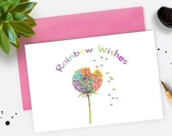 Dandelion Wishes Card. Watercolour Artist. Birthday Card. Greetings Card. Rainbow  Thank you Card. Dandelion seed card.