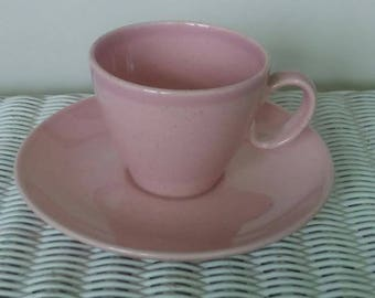 Pink Cup and Saucer, Vintage Coffee Cup, Stoneware Tea Cup, Pink Tea Cup, Pink Stoneware Cup, California Pottery Stoneware Tea Cup Set