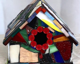 Mixed Media Mosaic Bird House- For the Bird  Lover in all of Us!