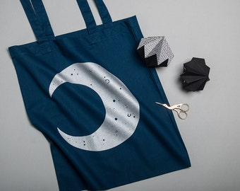 Tote Bag, Silver Glitter Crescent Moon Screen Printed Navy Shopping bag, Record Bag, Bag for Life